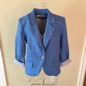 NWOT! Sz M Gibson blue linen blazer